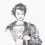 """Jenny in a """"23"""" jersey/shirt, holding a duffel bag, wearing a jacket."""