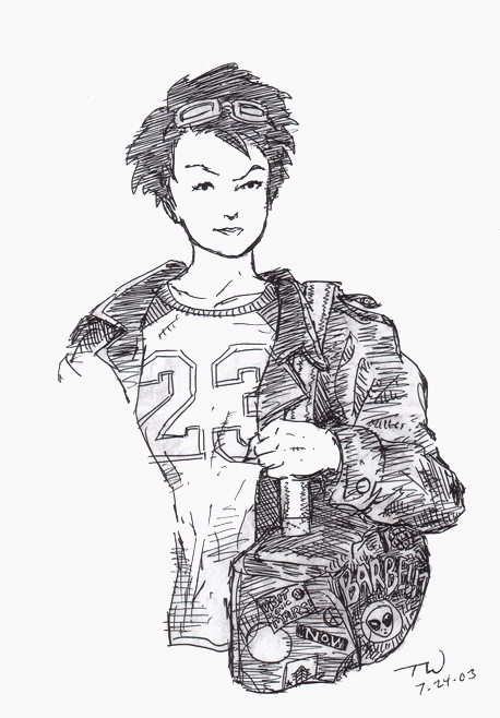 "Jenny in a ""23"" jersey/shirt, holding a duffel bag, wearing a jacket."
