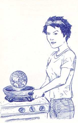 Jenny cooking the earth in a frying pan.
