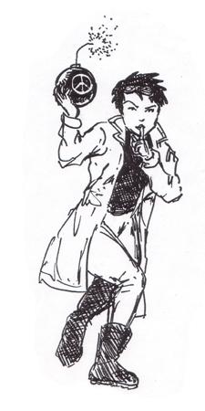 "Jenny holding a bomb, signaling ""shhh""."